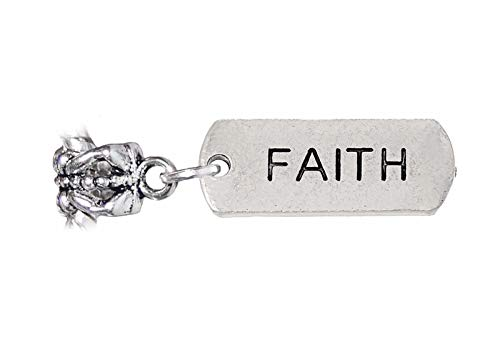 Faith Inspirational Word Message Dangle Charm for European Bead Slide Bracelets Crafting Key Chain Bracelet Necklace Jewelry Accessories Pendants