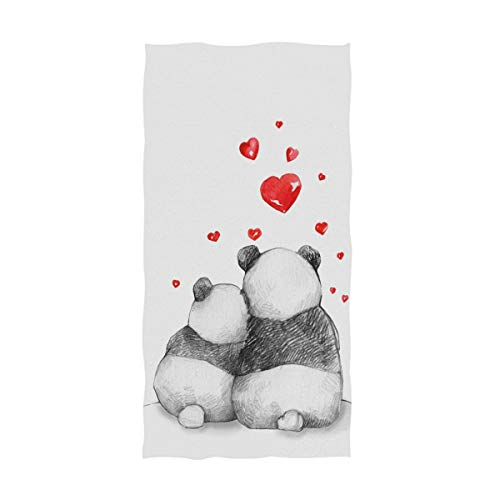 Naanle Cute Pandas Hearts Mother's Day Soft Absorbent Large Hand Towels Multipurpose for Bathroom, Hotel, Gym and Spa (16