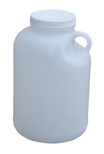 Gallon Plastic Container (Vestil JUG-1-WIDE Wide Mouth High Density Polyethylene (HDPE) Round Jug with Natural Cap, 6