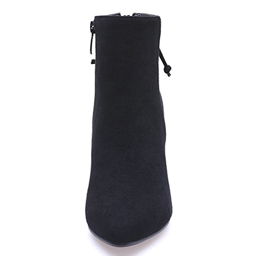 Boots QZUnique Martin Booties Heels Faux Surface Chunky Women Pointy Zipper Ankle Mid Toe Black Suede 7qw7BOr