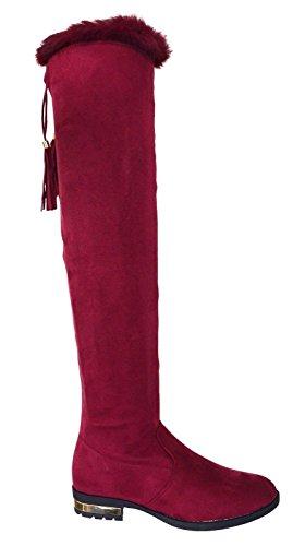Heel Knee The Low High Size Red Zip Over FB01 Boots Ladies Flat Gold 8 3 Other Womens Boot Fur Tassel wqxXf8nz
