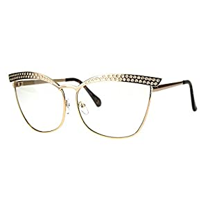 Womens Fashion Clear Lens Glasses Square Cateye Metal Frame Eyeglasses Rose Gold