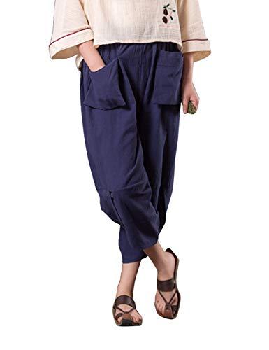 Zhhlinyuan Verano Algodón Azul Harén Trouser Suelto Pantalón Oscuro Pantalones Pantalones Holgado Linterna Confortable Unisexo Cintura Lino Elástica ggA7wrqR
