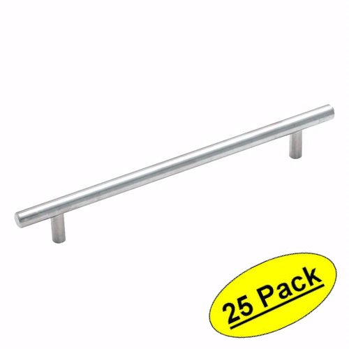 Amerock BP19012-SS Stainless Steel Cabinet Hardware Euro Style Bar Pull - 7-1/2 Inch Hole Centers - 9-7/8
