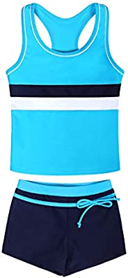 Little Girls Two Pieces Swimsuit Set Kids Summer Bathing Suit Tankini with Boyshorts