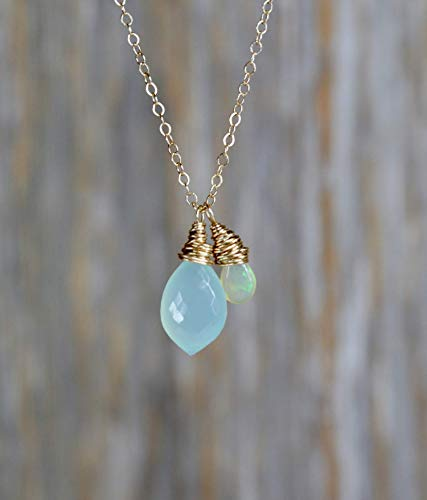 Opal Aqua Blue Chalcedony Gemstone Pendant Necklace- 17