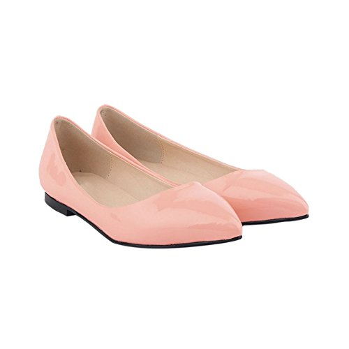 Meijunter Womens Shallow Mouth Pointed Leather Pumps Shoes Candy Color Flat Shoes RIUBR