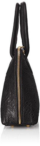 piel floral hecho genuina mano Cm mujer Italia suave bolso clutch CTM 32x23x10 Nero para con fantasia Negro de en y de A1vwqF0