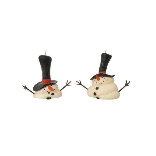 Fantastic Craft Melting Snowman Candles, 7-1/2-Inch, Cream, Set of 2