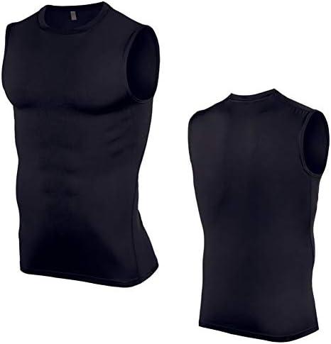 メンズワークアウトタンク、スポーツベスト弾性力タイトフィットネスジムのトレーニングランベスト速乾性の服,黒,L