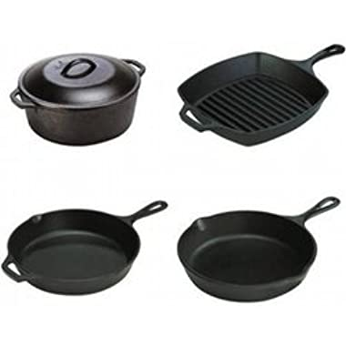 Lodge 4-Piece Essential Cast Iron Set, Includes Cast Iron Skillet, Cast Iron Dutch Oven, Cast Iron Square Grill Pan And Cast Iron Skillet