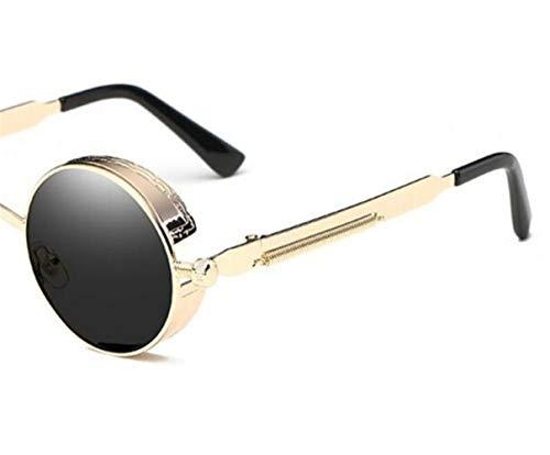 redondo moda de Huyizhi de de viajar sol libre marco gafas de gafas para ciclismo Los protección Guay sol UV400 al gafas hombres de Golden aire de conducción AnxwrAvqO