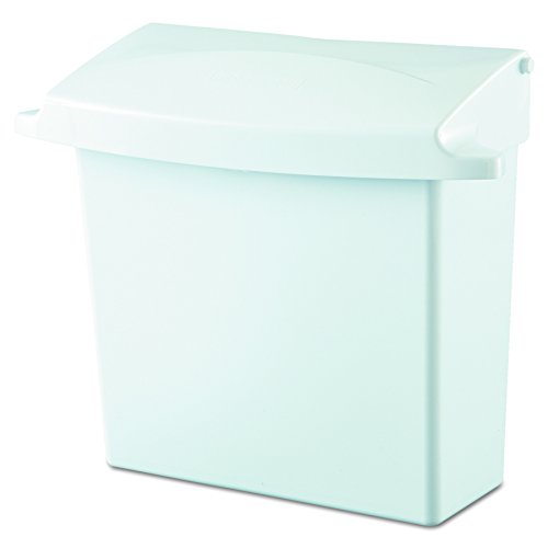 Rubbermaid Commercial 614000 Sanitary Napkin Receptacle with Rigid Liner, Rectangular, Plastic, White (Sanitary Bin)