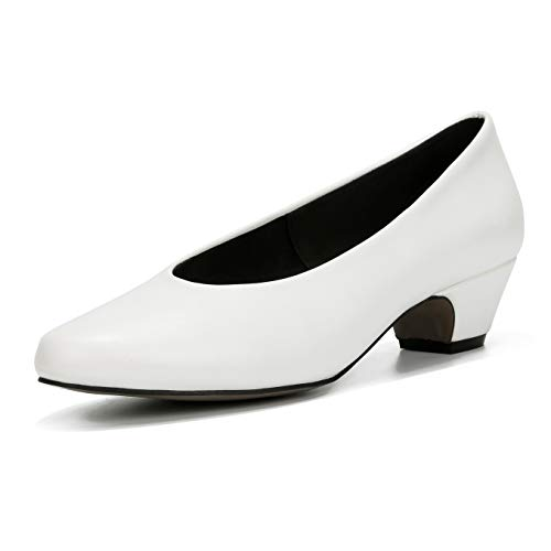 - LIURUIJIA Women's Closed Toe Low Chunky Heel Pumps | Dress, Work, Party Shoes White Matte PU-46(280/US11.5)