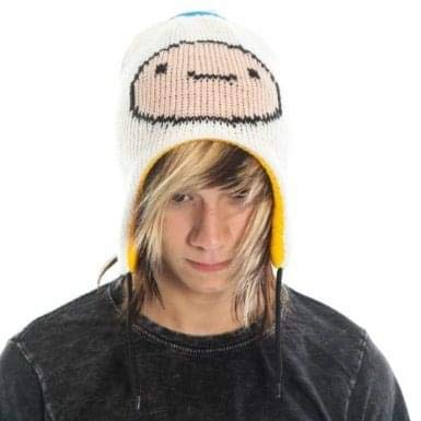 Adventure Time Jake & Finn Reversible Laplander Winter Beanie Hat (White/Yellow) ()