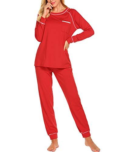 Red Pajamas Womens (Ekouaer Loungewear Women's Soft Cotton Sleepwear Long Sleeve Pajamas with Pockets (Red,XL))