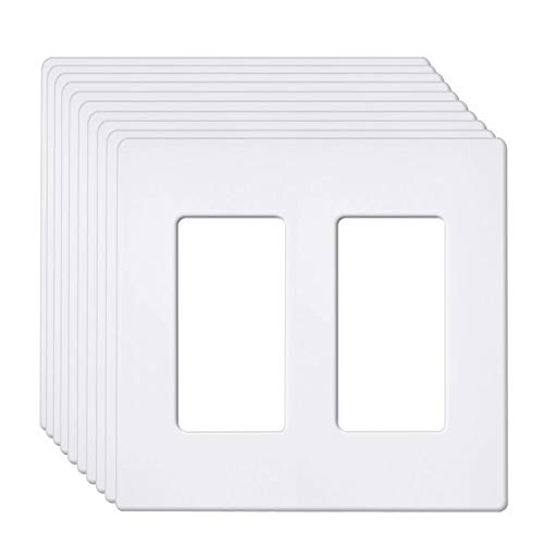 [10 Pack] BESTTEN 2-Gang Screwless Wall Plate, USWP6 Snow White Series, Slightly Larger Size Outlet Cover for Light Switch, Dimmer, USB, GFCI, Decor Receptacle, Residential and Commercial, UL Listed