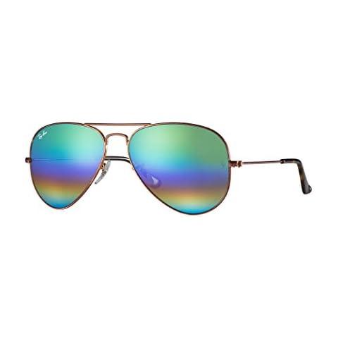 22769366110 Ray-Ban RB3025 Aviator Large Metal Unisex Sunglasses (Metallic Medium Bronze  Frame Light
