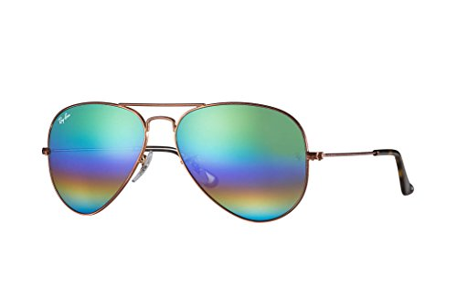 Ray-Ban RB3025 Aviator Large Metal Unisex Sunglasses (Metallic Medium Bronze Frame/Light Grey Mirror Rainbow Lens 9018C3, - Rayban Sunglases
