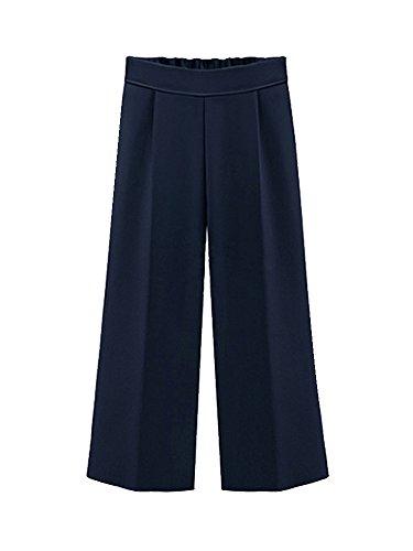 OCHENTA Mujer Cintura Alta Casual Moda Pierna Ancha Pantalones (Siete puntos) Azul Marino
