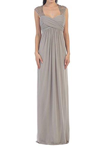 Vintage Lace Strap Keyhole Maternity Long Chiffon Prom Bridesmaid Dress Wedding Party Grey Size 8