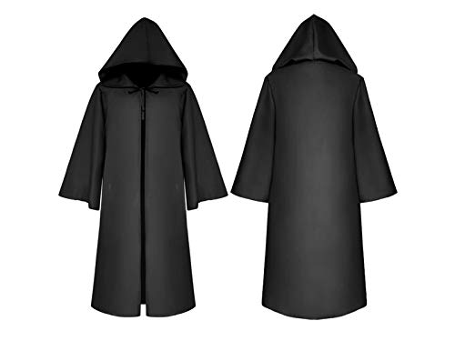 Hezon Happy Festival Halloween Christmas Costumes Long Hooded Cloak Death Cape for Children (Black) (Color : Black, Size : Length 125cm)