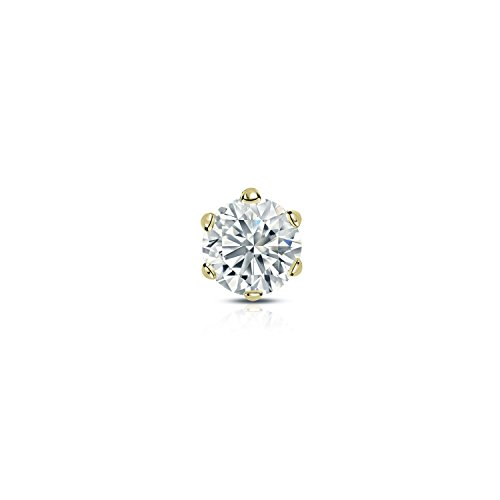 Diamond Wish 14k Yellow Gold Single Stud Round Diamond Earring (1/8 carat TW, Good, I1-I2) 6-Prong Basket, Screw-Back