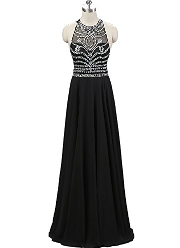 Nina Ding Floor-Length Rhinestone Chiffon Bridal Formal Prom Evening Dress NND028BK-US12