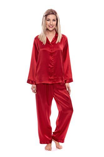 TexereSilk Women's 100% Silk Pajama Set - Luxury Sleepwear Pjs (Morning Dew, Tango Red, 3X/Petite) Chic Sleep Wear for Her WS0001-TRD-3XP Best Xmas Gifts