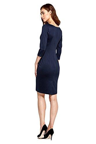 Freizeitkleid 4 Kleid Ärmeln Marineblau mit Kurzen 3 Nife Damen wETfqES