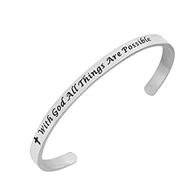 Hot With God all things are possible Faith Cuff Bangle Bracelet Religious Jewelry for cheap