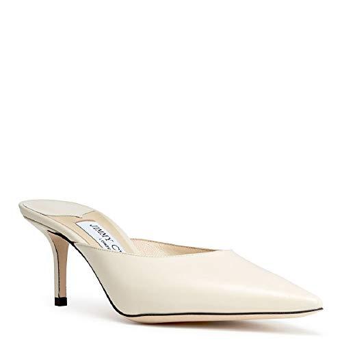 JIMMY CHOO Rav 65 Women's Pointed Toe Heel Mules Shoes 37.5 Ivory