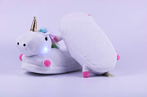 Maison Licorne Lovelysi Femme Fille Chaussons Chaussons LED Blanc Amie de Homme Chaussures Pantoufle 3D Garçon Petite Hiver Unicorn led Peluche gRTwR