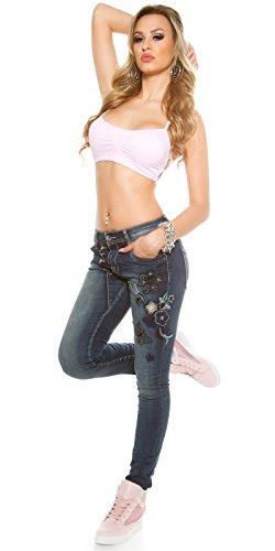 noir Mozzaar Taille Femme fonc Jeans Unique bleu 4qAwUH