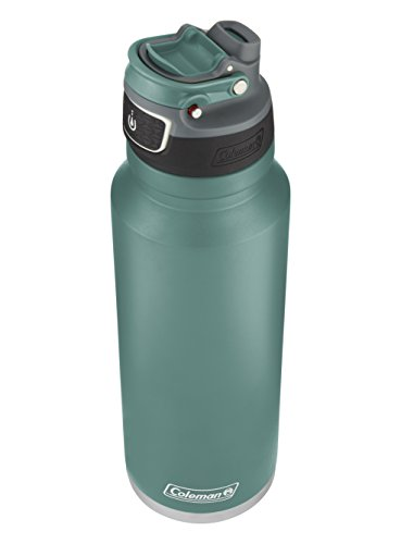 (Coleman FreeFlow AUTOSEAL Insulated Stainless Steel Water Bottle, Seafoam, 40 oz.)