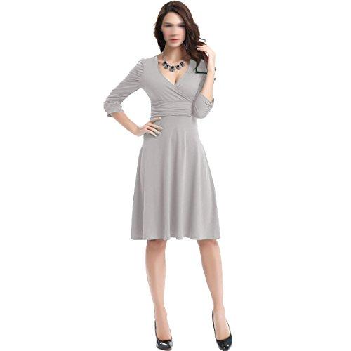Vestido Con Cuello En V Sra Verano Puso En Un Multi-color Multi-gran Tamaño W