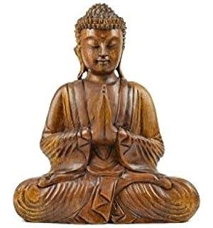 Merveilleux Statue De Bouddha Assis Mains Jointes En Bois H30cm