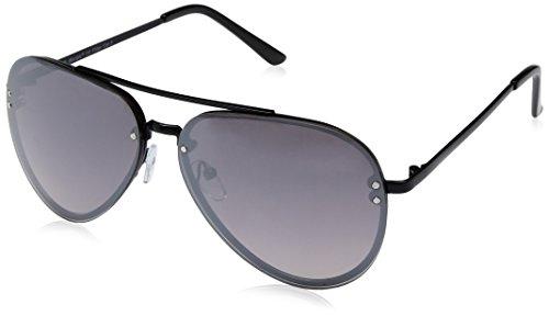 A.J. Morgan R and R Rectangular Sunglasses, Black/Mirror, 60 mm