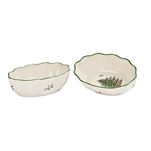 Spode Christmas Tree Fluted Oval Dish, Set of 2 ()