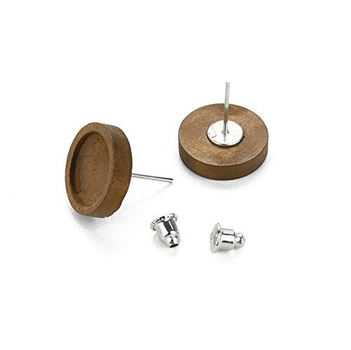 20Pcs Round Wood Stud Earring Base Setting Fit 12mm Cabochon Cameo Blank Tray Stainless Steel Earring Post DIY Findings