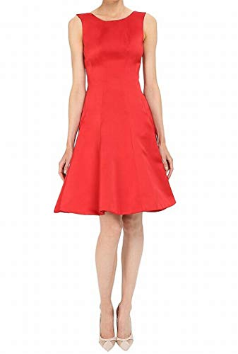 Zac Posen Women's Satin Double Face Duchess Fit and Flare Sleeveless Dress, Hibiscus 6