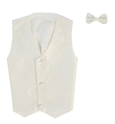Vest and Clip On Baby Boy Bowtie set - IVORY - L/XL (12-24 Months)