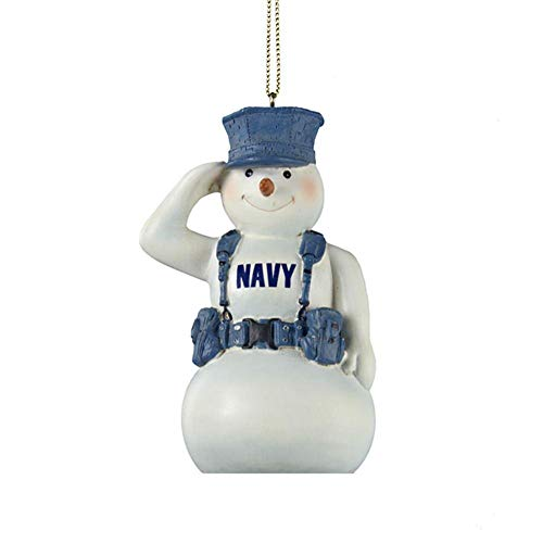 U.S. Navy Snowman Saluting in Gear Christmas Ornament