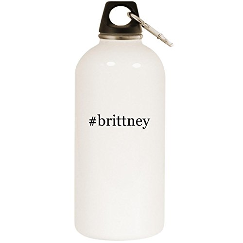 (#brittney - White Hashtag 20oz Stainless Steel Water Bottle with Carabiner)