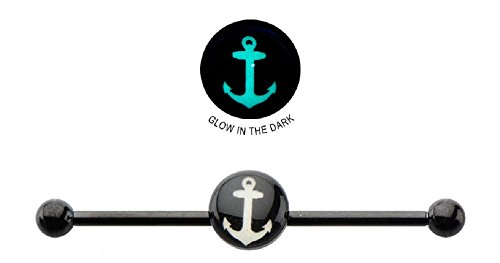 Industrial bar 316L Surgical 14g 1 3/8 8mm Glow In the Dark Anchor Logo Industrial Barbell