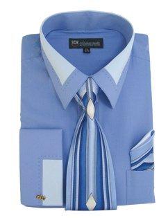 Milano Moda High Fashion Dress Shirt with Contrast Design Tie, Hankie & Cuffs Blue-17-17 1/2-34-35