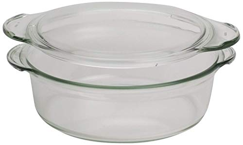 - Clear Round Glass Casserole by Simax | Deep Dish, With Lid, Heat, Cold and Shock Proof, Made in Europe, 1.5 Quart