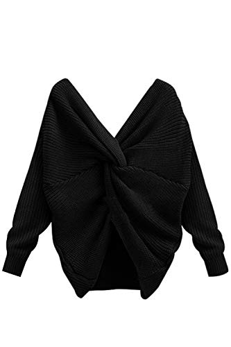 A A Maglione V Scollato Cravatta Maniche Scollo Maglione Sciolta Con Le Donne Black Lunghe Le FqWw0z4R