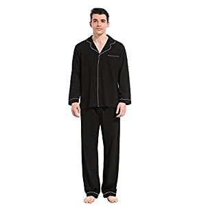 Like2sea Cotton Pajamas for Men, Long Button Down Sleepwear Set