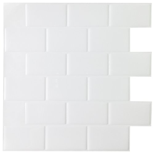 "Hentl Peel and Stick Tiles 12"" x 12"" White Peel and Stick..."